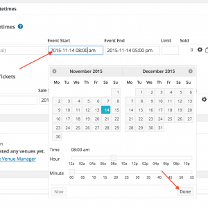 Click in the start and end date boxes and select the date and time, or type in directly