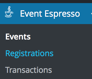 Click the Event Espresso Registrations menu item